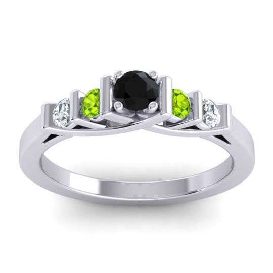 Black Onyx Petite Sapallava Ring with Peridot and Diamond in 14k White Gold