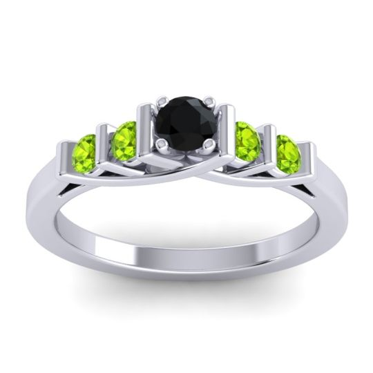 Black Onyx Petite Sapallava Ring with Peridot in 18k White Gold