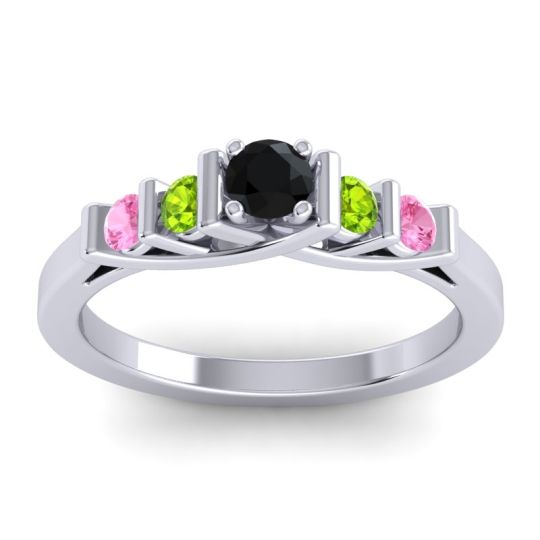 Black Onyx Petite Sapallava Ring with Peridot and Pink Tourmaline in 18k White Gold