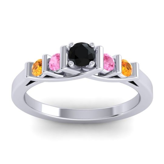 Black Onyx Petite Sapallava Ring with Pink Tourmaline and Citrine in 14k White Gold