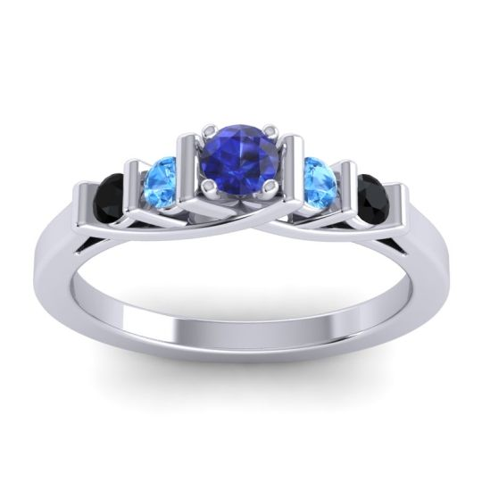 Blue Sapphire Petite Sapallava Ring with Swiss Blue Topaz and Black Onyx in Palladium