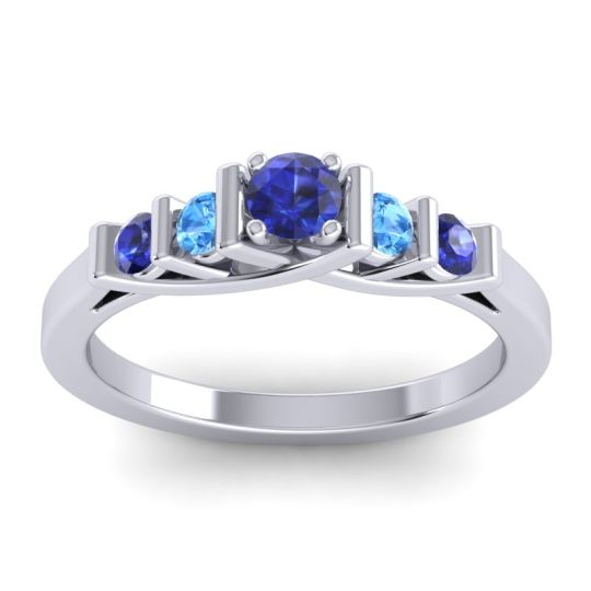 Blue Sapphire Petite Sapallava Ring with Swiss Blue Topaz in 14k White Gold