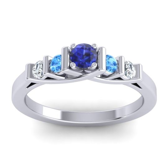 Blue Sapphire Petite Sapallava Ring with Swiss Blue Topaz and Diamond in 18k White Gold