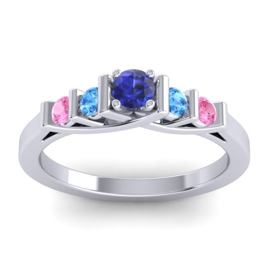 Blue Sapphire Petite Sapallava Ring with Swiss Blue Topaz and Pink Tourmaline in Platinum
