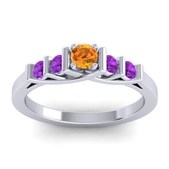 Citrine Petite Sapallava Ring with Amethyst in Platinum