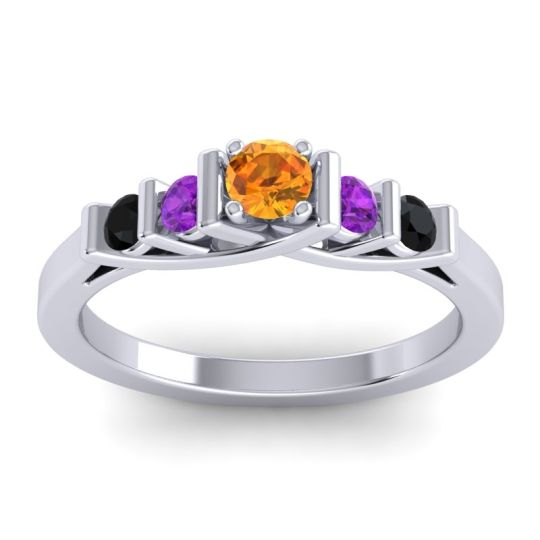 Citrine Petite Sapallava Ring with Amethyst and Black Onyx in Platinum