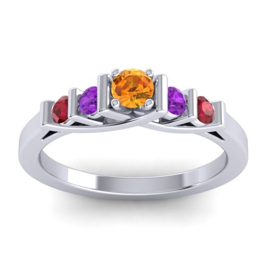 Citrine Petite Sapallava Ring with Amethyst and Ruby in Platinum