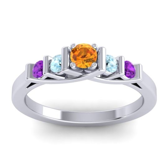 Citrine Petite Sapallava Ring with Aquamarine and Amethyst in 14k White Gold