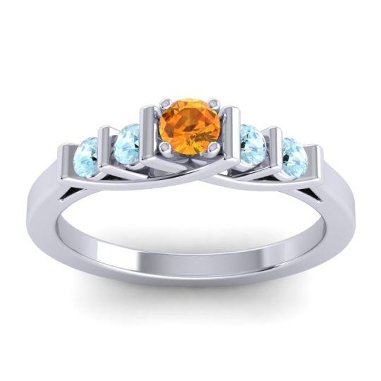 Citrine Petite Sapallava Ring with Aquamarine in 14k White Gold