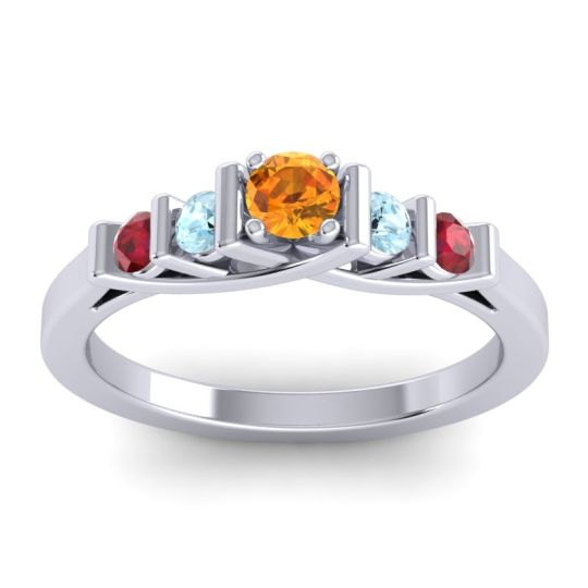 Citrine Petite Sapallava Ring with Aquamarine and Ruby in Platinum
