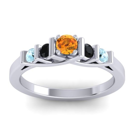 Citrine Petite Sapallava Ring with Black Onyx and Aquamarine in 18k White Gold