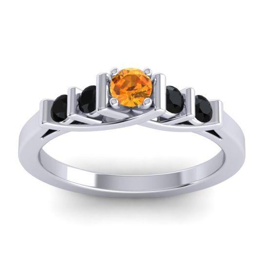 Citrine Petite Sapallava Ring with Black Onyx in Platinum