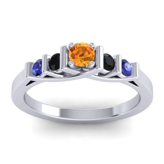 Citrine Petite Sapallava Ring with Black Onyx and Blue Sapphire in 14k White Gold