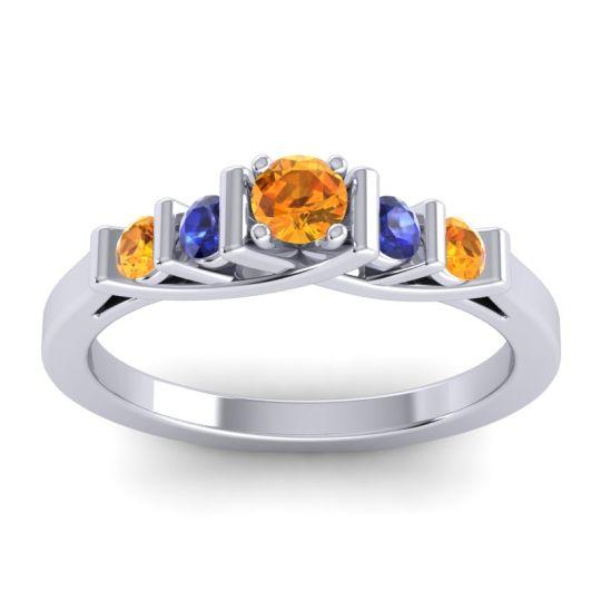 Citrine Petite Sapallava Ring with Blue Sapphire in Platinum