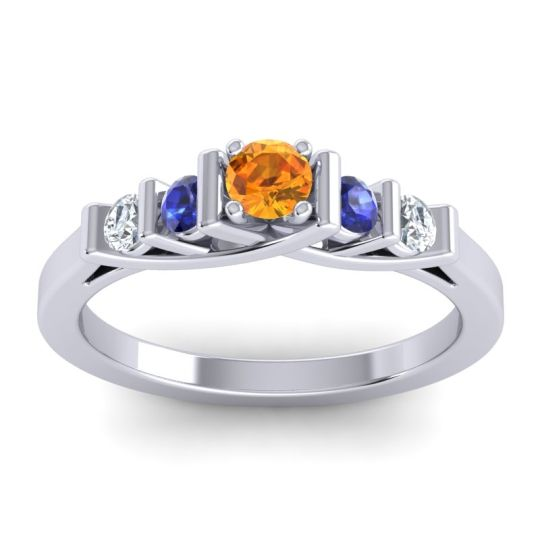 Citrine Petite Sapallava Ring with Blue Sapphire and Diamond in Palladium