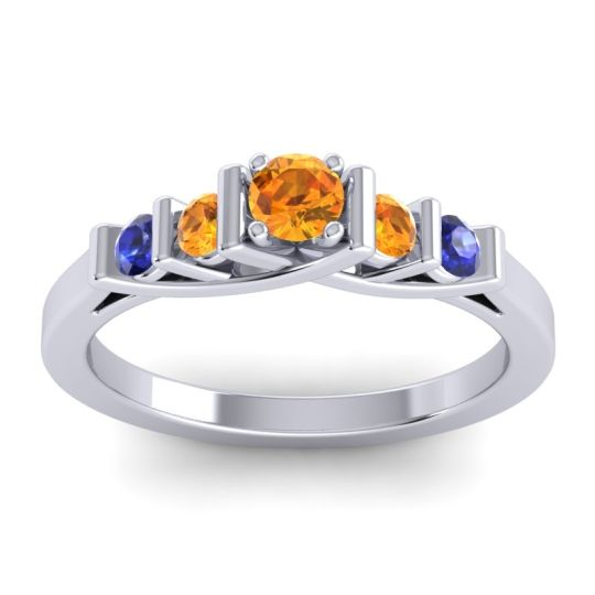 Citrine Petite Sapallava Ring with Blue Sapphire in 14k White Gold