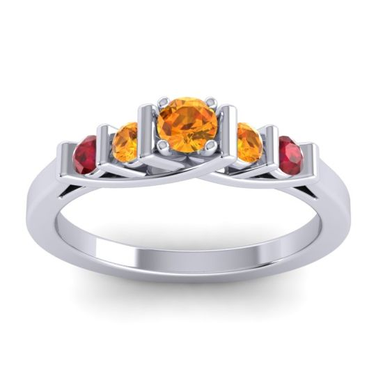 Citrine Petite Sapallava Ring with Ruby in 14k White Gold