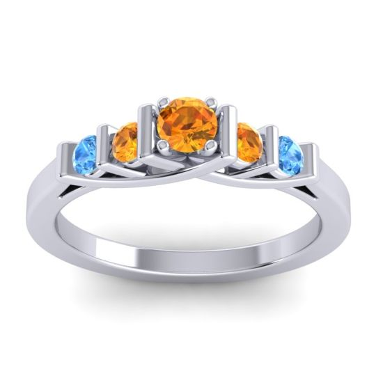 Citrine Petite Sapallava Ring with Swiss Blue Topaz in 18k White Gold