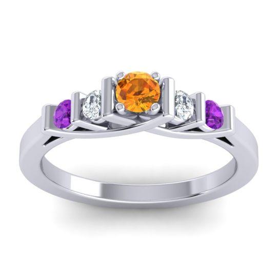 Citrine Petite Sapallava Ring with Diamond and Amethyst in Platinum