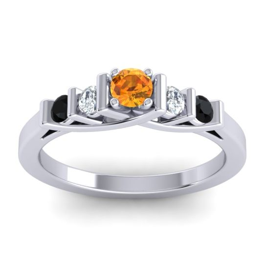 Citrine Petite Sapallava Ring with Diamond and Black Onyx in 18k White Gold