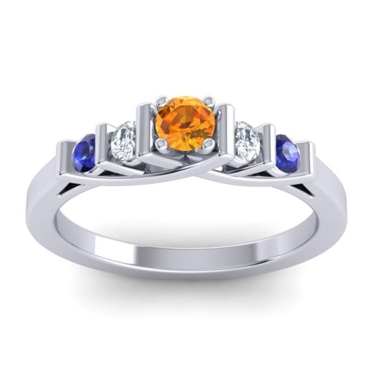 Citrine Petite Sapallava Ring with Diamond and Blue Sapphire in Platinum
