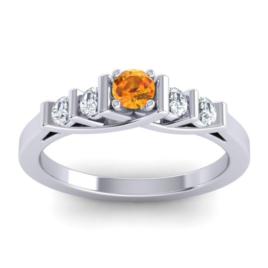 Citrine Petite Sapallava Ring with Diamond in 18k White Gold