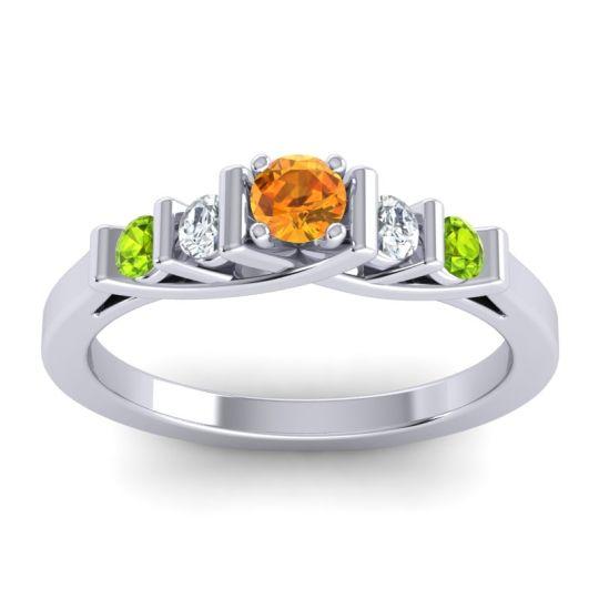 Citrine Petite Sapallava Ring with Diamond and Peridot in Platinum
