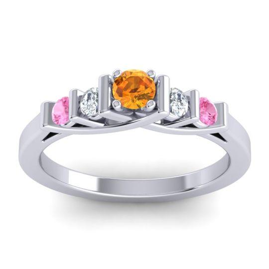 Citrine Petite Sapallava Ring with Diamond and Pink Tourmaline in Palladium