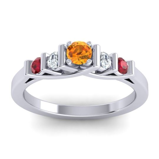 Citrine Petite Sapallava Ring with Diamond and Ruby in Palladium