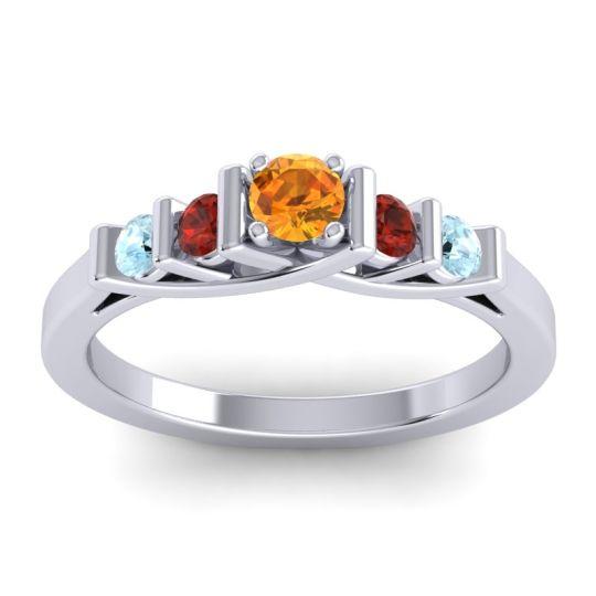Citrine Petite Sapallava Ring with Garnet and Aquamarine in Palladium
