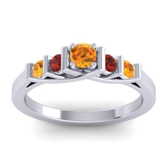 Citrine Petite Sapallava Ring with Garnet in Platinum