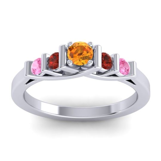 Citrine Petite Sapallava Ring with Garnet and Pink Tourmaline in 18k White Gold