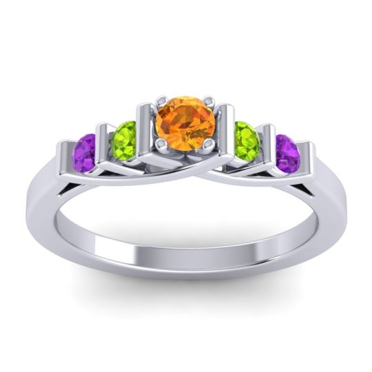 Citrine Petite Sapallava Ring with Peridot and Amethyst in 18k White Gold