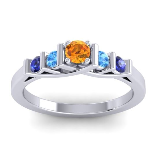 Citrine Petite Sapallava Ring with Swiss Blue Topaz and Blue Sapphire in 14k White Gold