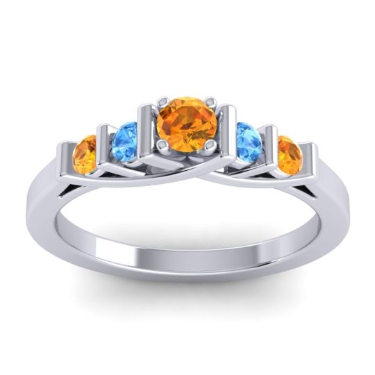 Citrine Petite Sapallava Ring with Swiss Blue Topaz in 14k White Gold