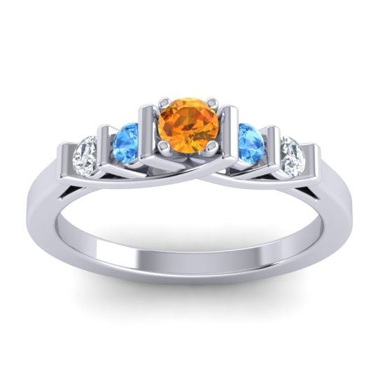 Citrine Petite Sapallava Ring with Swiss Blue Topaz and Diamond in 14k White Gold