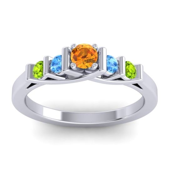 Citrine Petite Sapallava Ring with Swiss Blue Topaz and Peridot in 14k White Gold