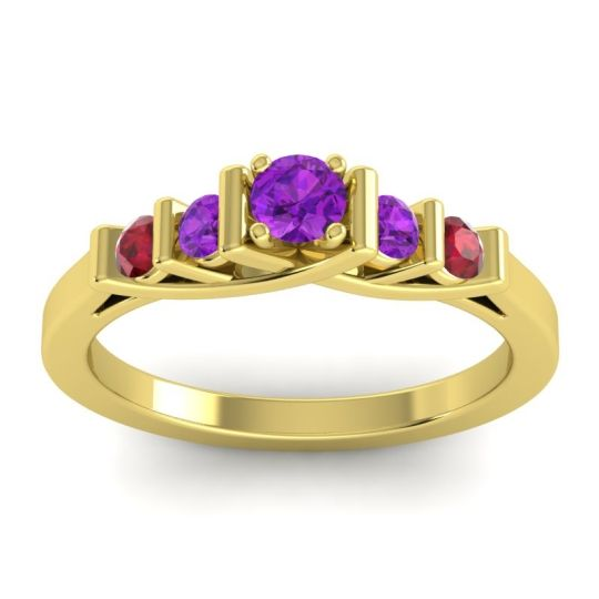 Amethyst Petite Sapallava Ring with Ruby in 14k Yellow Gold