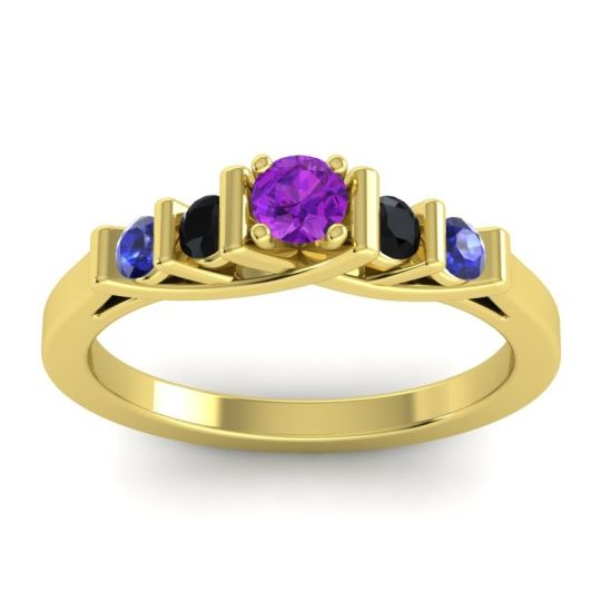 Amethyst Petite Sapallava Ring with Black Onyx and Blue Sapphire in 14k Yellow Gold