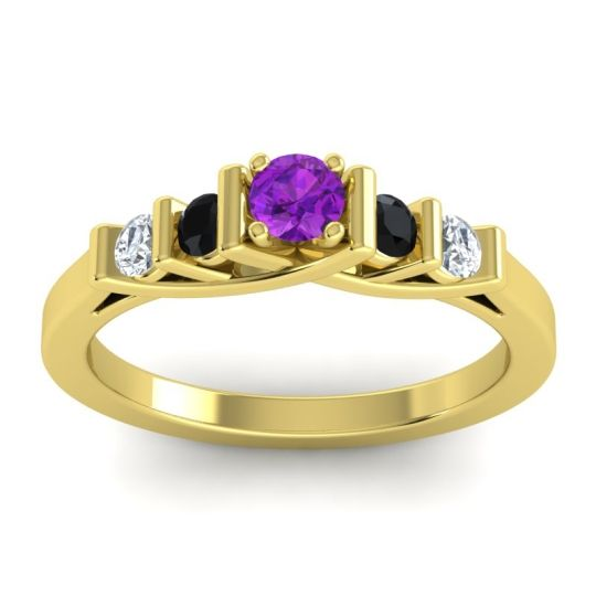 Amethyst Petite Sapallava Ring with Black Onyx and Diamond in 18k Yellow Gold