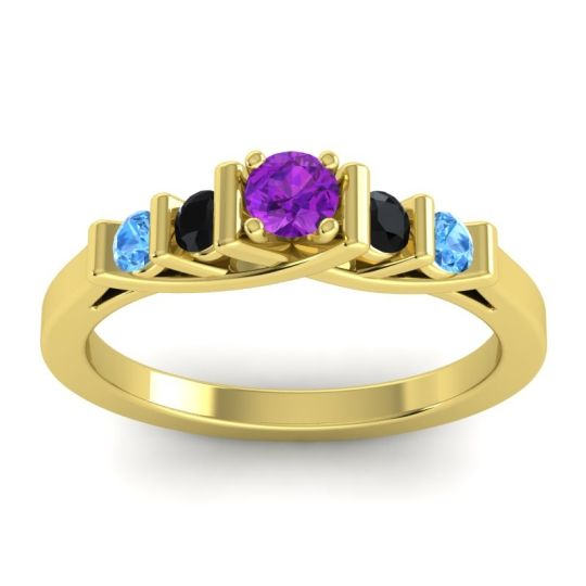 Amethyst Petite Sapallava Ring with Black Onyx and Swiss Blue Topaz in 18k Yellow Gold