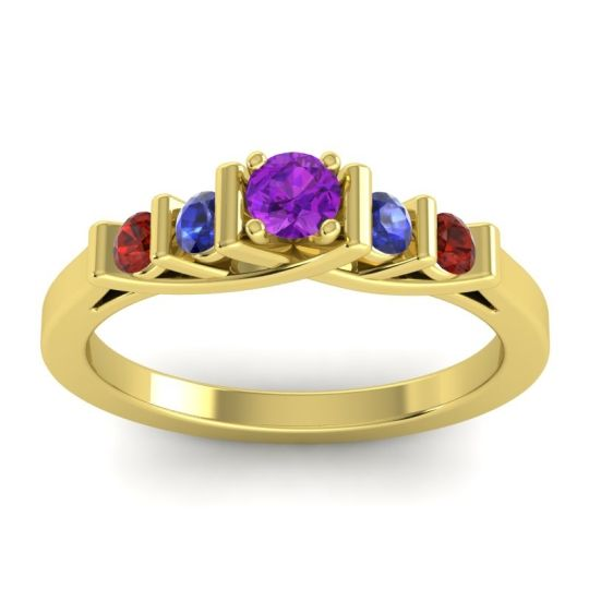 Amethyst Petite Sapallava Ring with Blue Sapphire and Garnet in 14k Yellow Gold