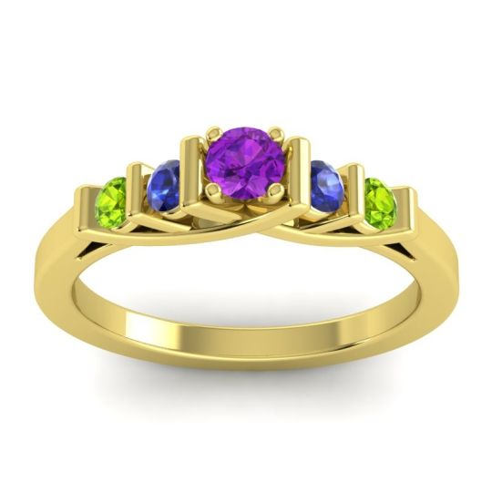 Amethyst Petite Sapallava Ring with Blue Sapphire and Peridot in 18k Yellow Gold