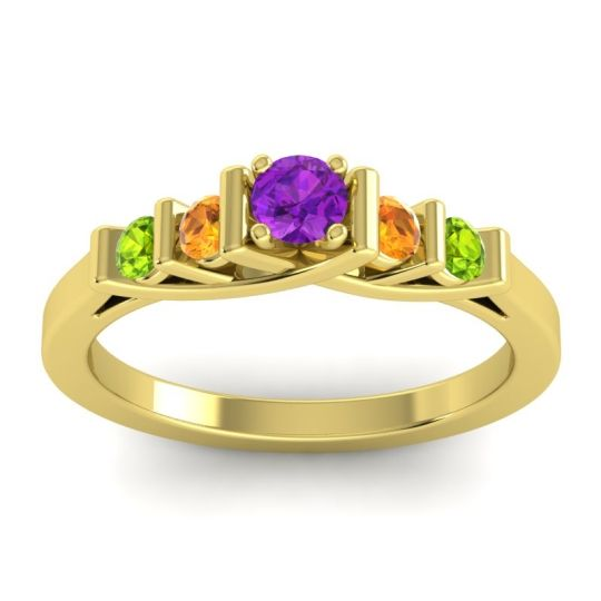 Amethyst Petite Sapallava Ring with Citrine and Peridot in 18k Yellow Gold