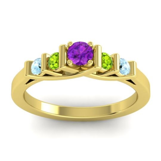 Amethyst Petite Sapallava Ring with Peridot and Aquamarine in 18k Yellow Gold