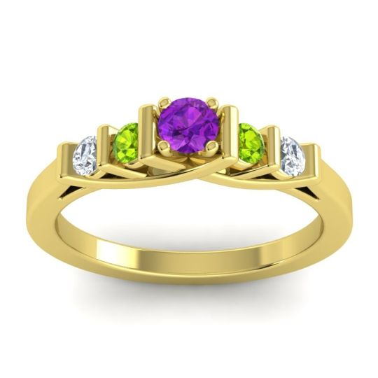 Amethyst Petite Sapallava Ring with Peridot and Diamond in 18k Yellow Gold