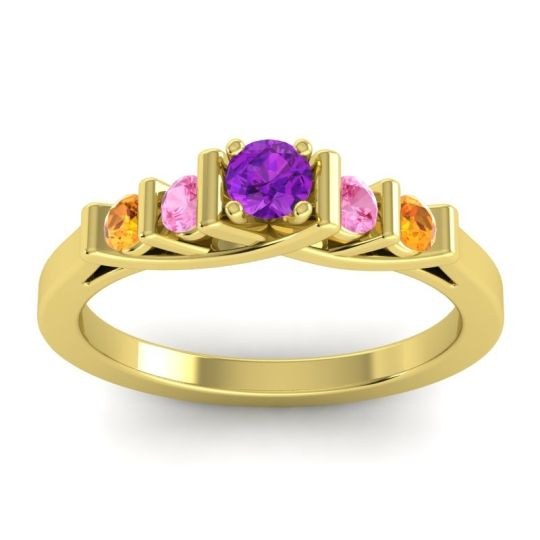 Amethyst Petite Sapallava Ring with Pink Tourmaline and Citrine in 18k Yellow Gold