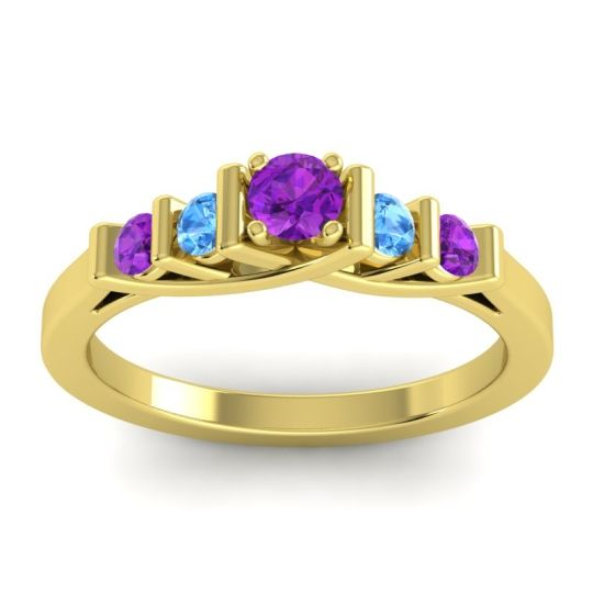 Amethyst Petite Sapallava Ring with Swiss Blue Topaz in 18k Yellow Gold