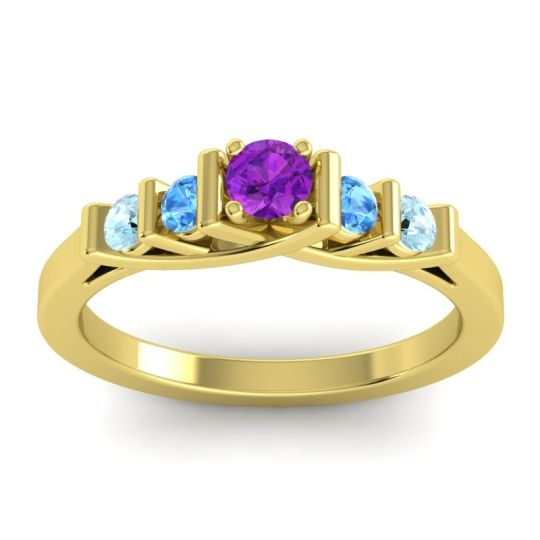 Amethyst Petite Sapallava Ring with Swiss Blue Topaz and Aquamarine in 18k Yellow Gold
