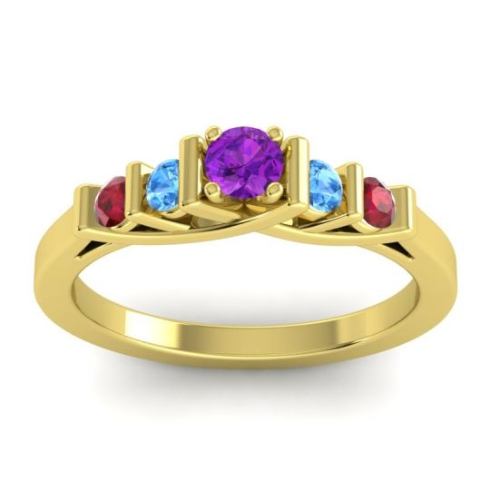 Amethyst Petite Sapallava Ring with Swiss Blue Topaz and Ruby in 18k Yellow Gold